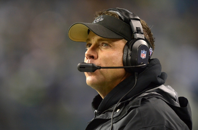 Dec 2, 2013; Seattle, WA, USA; New Orleans Saints coach Sean Payton reacts during the game against the Seattle Seahawks at CenturyLink Field. Mandatory Credit: Kirby Lee-USA TODAY Sports