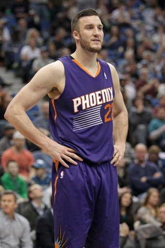 Jan 8, 2014; Minneapolis, MN, USA; Phoenix Suns center Miles Plumlee (22) against the Minnesota Timberwolves at Target Center. The Suns defeated the Timberwolves 104-103. Mandatory Credit: Brace Hemmelgarn-USA TODAY Sports