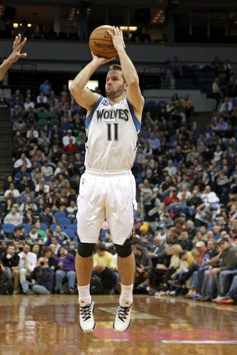 Jan 8, 2014; Minneapolis, MN, USA; Minnesota Timberwolves guard J.J. Barea (11) against the Phoenix Suns at Target Center. The Suns defeated the Timberwolves 104-103. Mandatory Credit: Brace Hemmelgarn-USA TODAY Sports