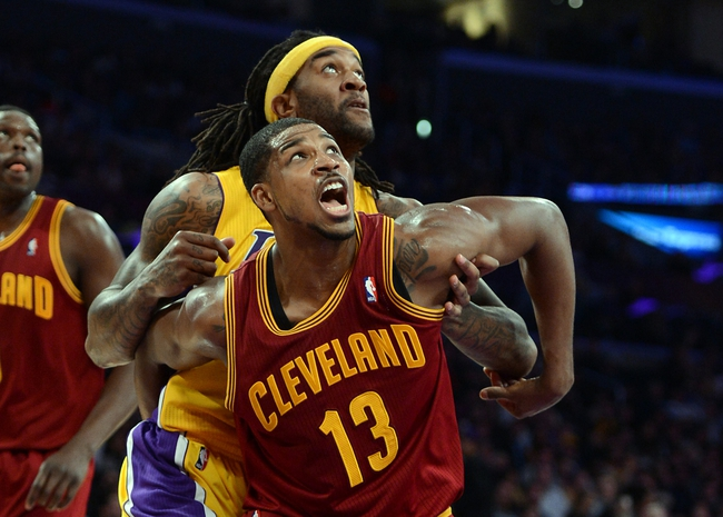 Jan 14, 2014; Los Angeles, CA, USA; Cleveland Cavaliers power forward Tristan Thompson (13) and Los Angeles Lakers center Jordan Hill (27) under the basket in the second half of the game at Staples Center. Cleveland Cavaliers won 120-118. Mandatory Credit: Jayne Kamin-Oncea-USA TODAY Sports