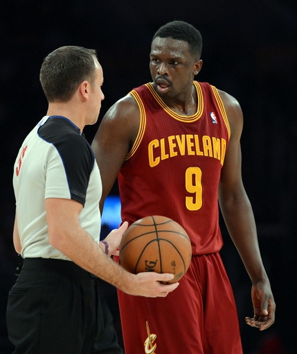 Jan 14, 2014; Los Angeles, CA, USA; Cleveland Cavaliers small forward Luol Deng (9) talks with an official in the second half of the game against the Los Angeles Lakers at Staples Center. Cleveland Cavaliers won 120-118. Mandatory Credit: Jayne Kamin-Oncea-USA TODAY Sports