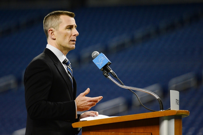 Jan 15, 2014; Detroit, MI, USA; Detroit Lions president Tom Lewand speaks during press conference at Ford Field. Mandatory Credit: Andrew Weber-USA TODAY Sports