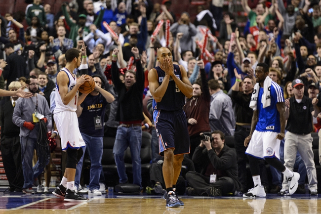 Jan 15, 2014; Philadelphia, PA, USA; Charlotte Bobcats guard Gerald Henderson (9) reacts after loosing to the Philadelphia 76ers at the Wells Fargo Center. The Sixers defeated the Bobcats 95-92. Mandatory Credit: Howard Smith-USA TODAY Sports