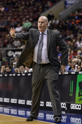 Jan 15, 2014; Philadelphia, PA, USA; Charlotte Bobcats head coach Steve Clifford along the sidelines during the fourth quarter against the Philadelphia 76ers at the Wells Fargo Center. The Sixers defeated the Bobcats 95-92. Mandatory Credit: Howard Smith-USA TODAY Sports