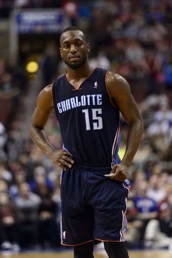 Jan 15, 2014; Philadelphia, PA, USA; Charlotte Bobcats guard Kemba Walker (15) during the fourth quarter against the Philadelphia 76ers at the Wells Fargo Center. The Sixers defeated the Bobcats 95-92. Mandatory Credit: Howard Smith-USA TODAY Sports