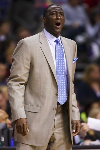 Jan 17, 2014; Auburn Hills, MI, USA; Utah Jazz head coach Tyrone Corbin reacts in the second half against the Detroit Pistons at The Palace of Auburn Hills. Utah won 110-89. Mandatory Credit: Rick Osentoski-USA TODAY Sports