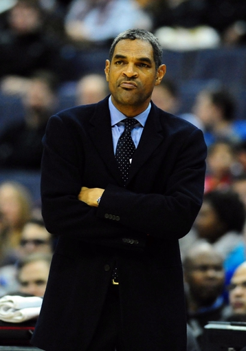 Jan 18, 2014; Washington, DC, USA; Detroit Pistons head coach Maurice Cheeks (center) looks on during the game against the Washington Wizards at Verizon Center. Mandatory Credit: Evan Habeeb-USA TODAY Sports