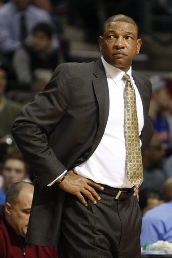 Jan 20, 2014; Auburn Hills, MI, USA; Los Angeles Clippers head coach Doc Rivers looks on during the fourth quarter against the Detroit Pistons at The Palace of Auburn Hills. Clippers beat the Pistons 112-103. Mandatory Credit: Raj Mehta-USA TODAY Sports