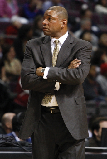 Jan 20, 2014; Auburn Hills, MI, USA; Los Angeles Clippers head coach Doc Rivers crosses his arms during the fourth quarter against the Detroit Pistons at The Palace of Auburn Hills. Clippers beat the Pistons 112-103. Mandatory Credit: Raj Mehta-USA TODAY Sports
