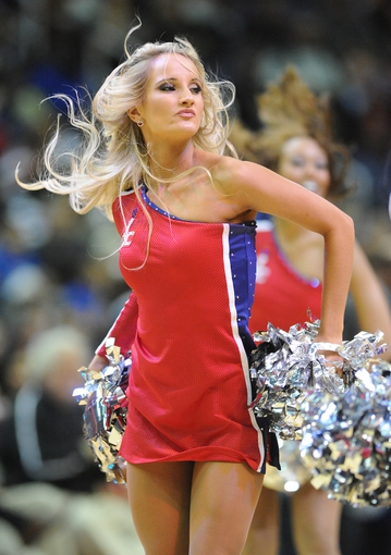 Jan 20, 2014; Washington, DC, USA; Washington Wizards dancer performs during the game against the Philadelphia 76ers during the second half at Verizon Center. The Wizards defeated the 76ers 107 - 99. Mandatory Credit: Brad Mills-USA TODAY Sports