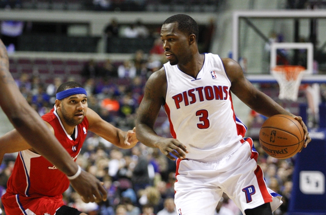 Jan 20, 2014; Auburn Hills, MI, USA; Detroit Pistons shooting guard Rodney Stuckey (3) dribbles the ball during the fourth quarter against the Los Angeles Clippers at The Palace of Auburn Hills. Clippers beat the Pistons 112-103. Mandatory Credit: Raj Mehta-USA TODAY Sports