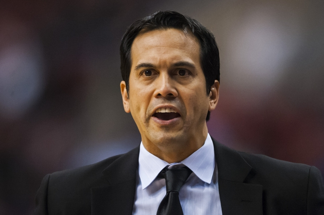 Jan 17, 2014; Philadelphia, PA, USA; Miami Heat head coach Erik Spoelstra during the fourth quarter against the Philadelphia 76ers at the Wells Fargo Center. The Heat defeated the Sixers 101-86. Mandatory Credit: Howard Smith-USA TODAY Sports