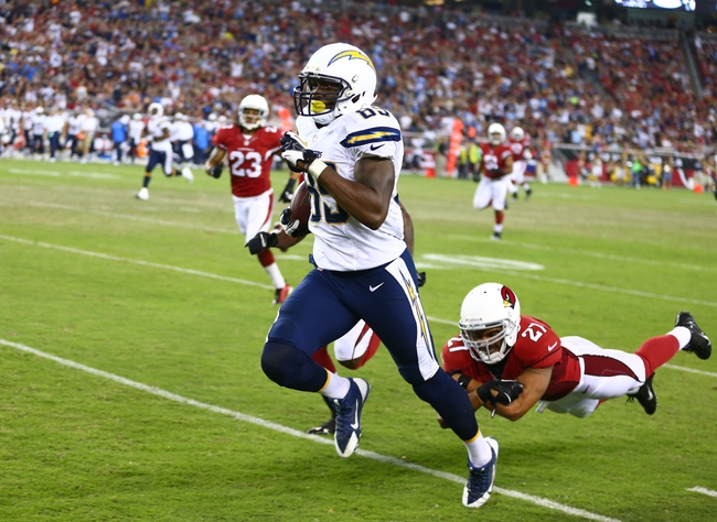 Aug. 24, 2013; Glendale, AZ, USA: San Diego Chargers tight end Ladarius Green (89) against the Arizona Cardinals during a preseason game at University of Phoenix Stadium. Mandatory Credit: Mark J. Rebilas-USA TODAY Sports
