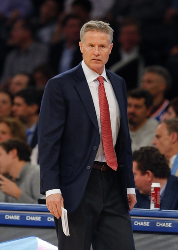 Jan 22, 2014; New York, NY, USA;  Philadelphia 76ers head coach Brett Brown during the first half against the New York Knicks at Madison Square Garden. Mandatory Credit: Jim O'Connor-USA TODAY Sports