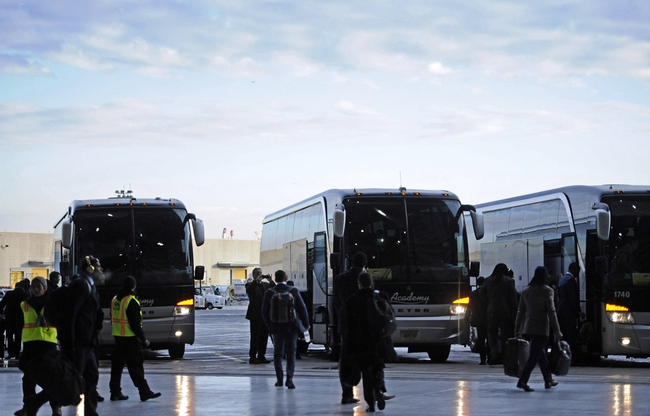Jan 26, 2014; Newark, NJ, USA; The Denver Broncos arrive at Newark Liberty International Airport to face the Seattle Seahawks in Super Bowl XLVIII . Mandatory Credit: Joe Camporeale-USA TODAY Sports