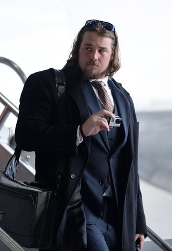 Jan 26, 2014; Newark, NJ, USA; Denver Broncos long snapper Aaron Brewer arrives at Newark Liberty International Airport to face the Seattle Seahawks in Super Bowl XLVIII. Mandatory Credit: Joe Camporeale-USA TODAY Sports