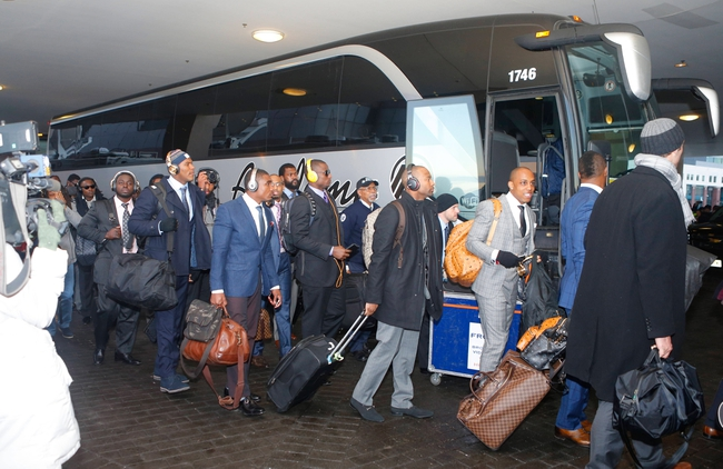 Jan 26, 2014; Jersey City, NJ, USA;  Denver Broncos arrive at Hyatt Hotel. Mandatory Credit: Jim O'Connor-USA TODAY Sports