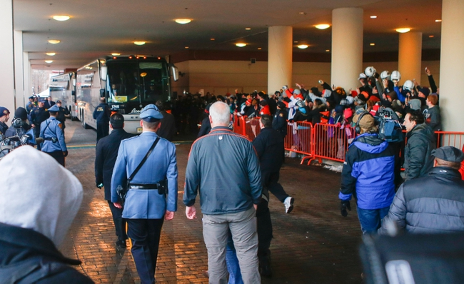 Jan 26, 2014; Jersey City, NJ, USA;  Denver Broncos arrive at the Hyatt Regency hotel. Mandatory Credit: Jim O'Connor-USA TODAY Sports