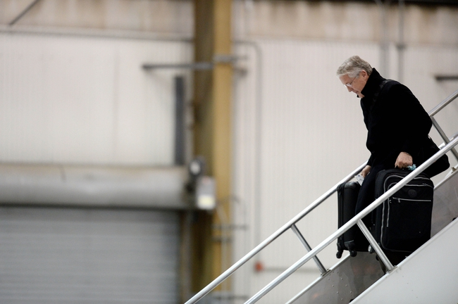 Jan 26, 2014; Newark, NJ, USA; Seattle Seahawks head coach Pete Carroll arrives at Newark Liberty International Airport to face the Denver Broncos in Super Bowl XLVIII. Mandatory Credit: Joe Camporeale-USA TODAY Sports