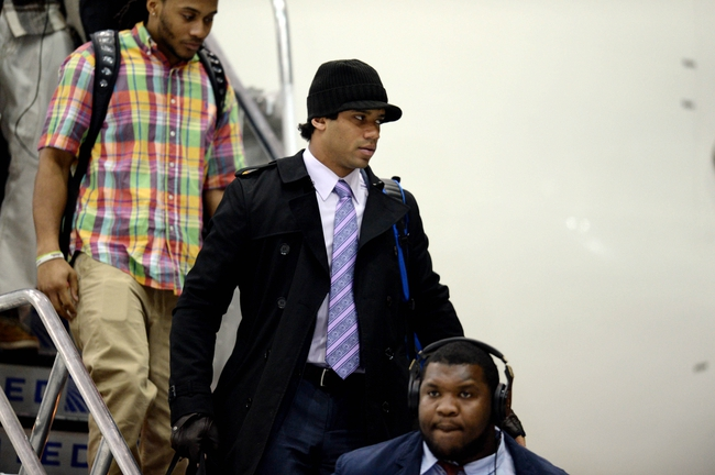 Jan 26, 2014; Newark, NJ, USA; Seattle Seahawks quarterback Russell Wilson arrives at Newark Liberty International Airport to face the Denver Broncos in Super Bowl XLVIII. Mandatory Credit: Joe Camporeale-USA TODAY Sports