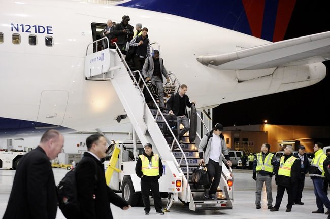 Jan 26, 2014; Newark, NJ, USA; The Seattle Seahawks arrive at Newark Liberty International Airport to face the Denver Broncos in Super Bowl XLVIII. Mandatory Credit: Joe Camporeale-USA TODAY Sports