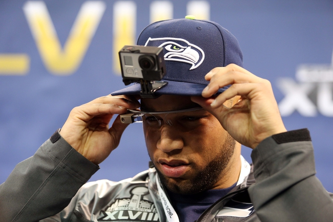 Jan 28, 2014; Newark, NJ, USA; Seattle Seahawks wide receiver Golden Tate is interviewed during Media Day for Super Bowl XLIII at Prudential Center. Mandatory Credit: Brad Penner-USA TODAY Sports