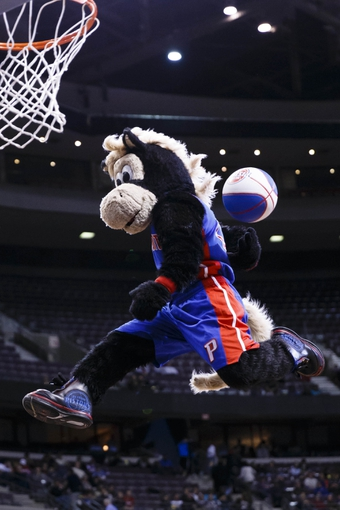 Jan 28, 2014; Auburn Hills, MI, USA; Detroit Pistons mascot Hooper performs during a time out against the Orlando Magic at The Palace of Auburn Hills. Mandatory Credit: Rick Osentoski-USA TODAY Sports