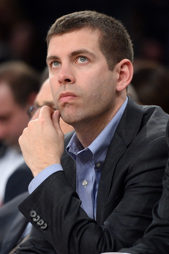 Jan 28, 2014; New York, NY, USA; Boston Celtics head coach Brad Stevens looks on against the New York Knicks during the second half at Madison Square Garden. The New York Knicks won the game 114-88. Mandatory Credit: Joe Camporeale-USA TODAY Sports