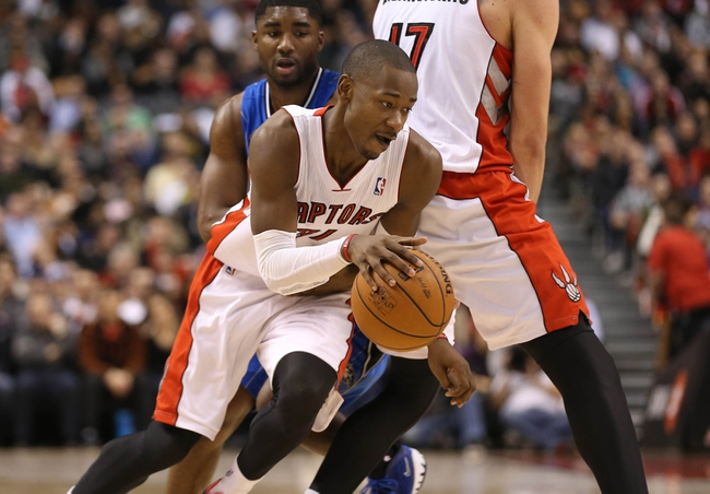 Jan 29, 2014; Toronto, Ontario, CAN; Toronto Raptors guard Terrence Ross (31) drives to the basket against the Orlando Magic at Air Canada Centre. The Raptors beat the Magic 98-83. Mandatory Credit: Tom Szczerbowski-USA TODAY Sports