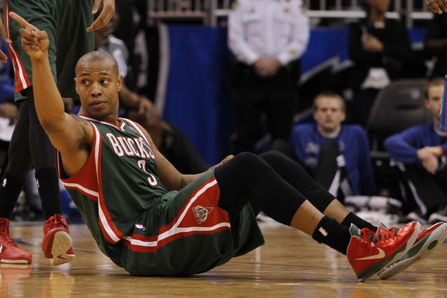 Jan 31, 2014; Orlando, FL, USA; Milwaukee Bucks small forward Caron Butler (3) reacts from the court against the Orlando Magic during the second half at Amway Center. Orlando Magic won 113-102.  Mandatory Credit: Kim Klement-USA TODAY Sports