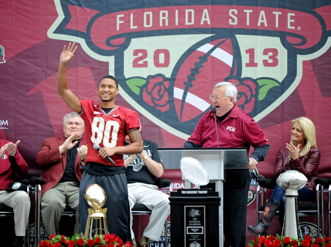 Feb 1, 2014; Tallahassee, FL, USA; Florida State Seminoles wide receiver Rashad Greene (80) speaks during the BCS National Championship Celebration at Doak Campbell Stadium. Mandatory Credit: Melina Vastola-USA TODAY Sports