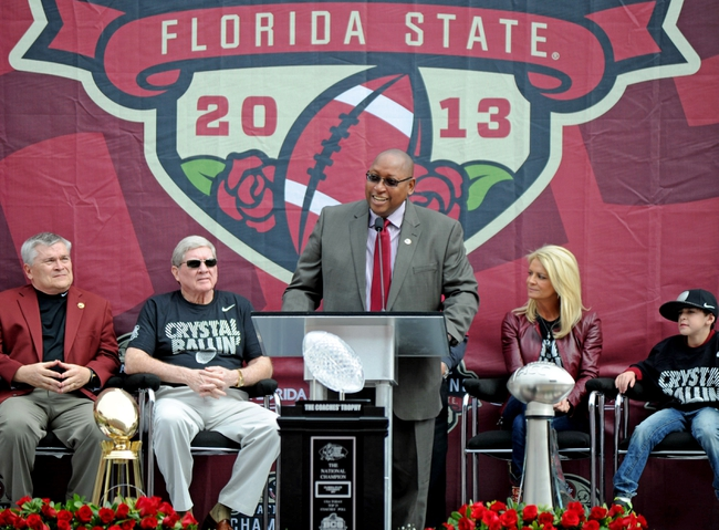 Feb 1, 2014; Tallahassee, FL, USA; Florida State Seminoles athletic director Stan Wilcox speaks during the BCS National Championship Celebration at Doak Campbell Stadium. Mandatory Credit: Melina Vastola-USA TODAY Sports