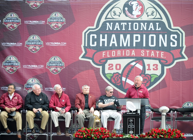 Feb 1, 2014; Tallahassee, FL, USA; The voice of the Florida State Seminoles Gene Deckerhoff speaks during the BCS National Championship Celebration at Doak Campbell Stadium. Mandatory Credit: Melina Vastola-USA TODAY Sports