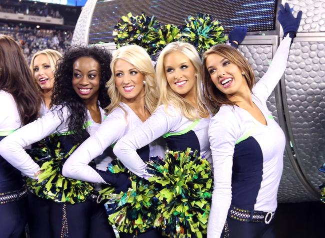 Feb 2, 2014; East Rutherford, NJ, USA; The Seattle Seahawks cheerleaders celebrate after winning Super Bowl XLVIII against the Denver Broncos at MetLife Stadium. Seattle Seahawks won 43-8.  Mandatory Credit: Matthew Emmons-USA TODAY Sports