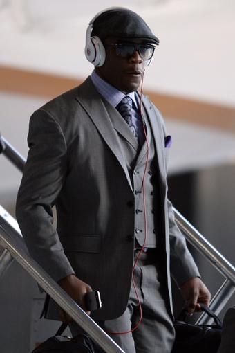 Jan 26, 2014; Newark, NJ, USA; Denver Broncos guard Louis Vasquez arrives at Newark Liberty International Airport to face the Seattle Seahawks in Super Bowl XLVIII. Mandatory Credit: Joe Camporeale-USA TODAY Sports