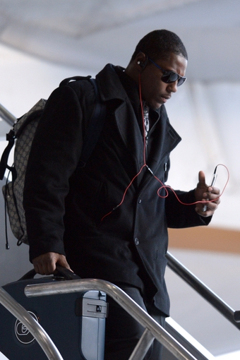 Jan 26, 2014; Newark, NJ, USA; Denver Broncos running back Knowshon Moreno arrives at Newark Liberty International Airport to face the Seattle Seahawks in Super Bowl XLVIII. Mandatory Credit: Joe Camporeale-USA TODAY Sports