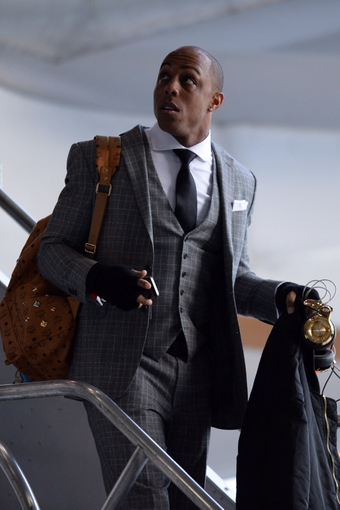 Jan 26, 2014; Newark, NJ, USA; Denver Broncos wide receiver Andre Caldwell arrives at Newark Liberty International Airport to face the Seattle Seahawks in Super Bowl XLVIII. Mandatory Credit: Joe Camporeale-USA TODAY Sports