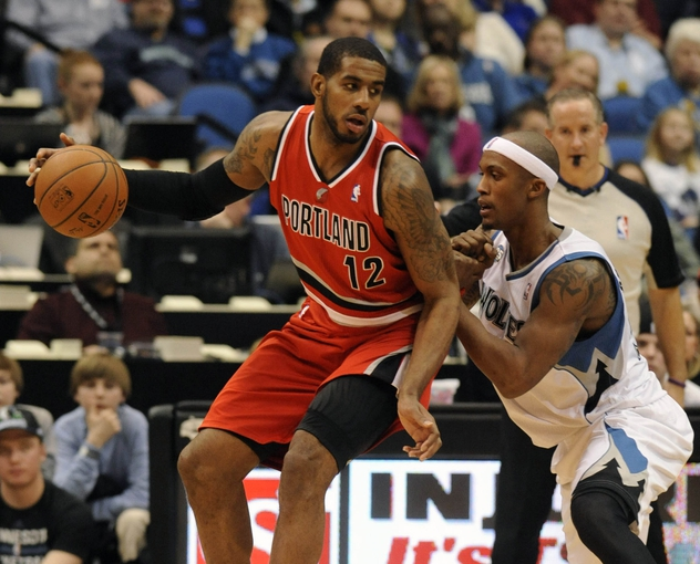 Feb 8, 2014; Minneapolis, MN, USA; Portland Trail Blazers forward LaMarcus Aldridge (12) moves to the basket guarded by Minnesota Timberwolves forward Dante Cunningham (33) in the fourth quarter at Target Center.  The Trail Blazers defeated the Wolves  117-110.  Mandatory Credit: Marilyn Indahl-USA TODAY Sports
