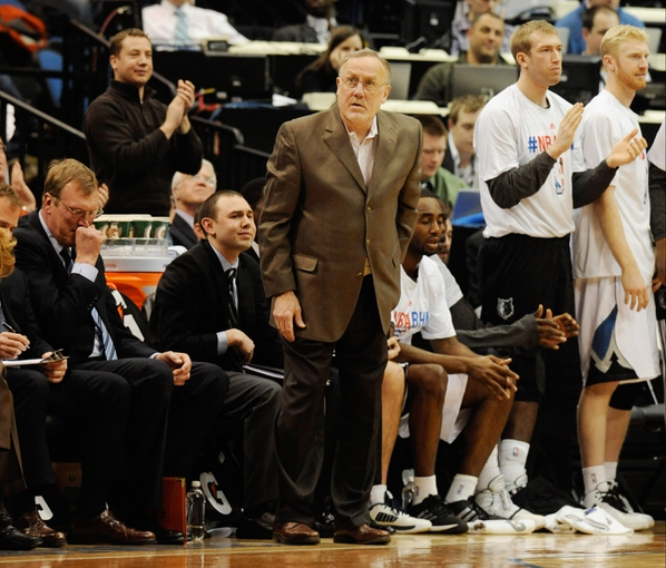 Feb 8, 2014; Minneapolis, MN, USA; Minnesota Timberwolves head coach Rick Adelman on the sidelines in the first half against the Portland Trail Blazers at Target Center. The Trail Blazers defeated the Wolves  117-110.  Mandatory Credit: Marilyn Indahl-USA TODAY Sports