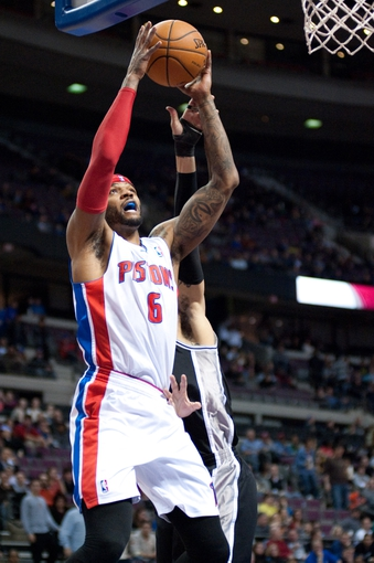 Feb 10, 2014; Auburn Hills, MI, USA; Detroit Pistons small forward Josh Smith (6) during the first quarter against the San Antonio Spurs at The Palace of Auburn Hills. Mandatory Credit: Tim Fuller-USA TODAY Sports