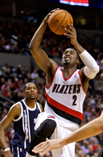 Feb 11, 2014; Portland, OR, USA; Portland Trail Blazers shooting guard Wesley Matthews (2) drives to the basket during the fourth quarter against the Oklahoma City Thunder at the Moda Center. Mandatory Credit: Craig Mitchelldyer-USA TODAY Sports