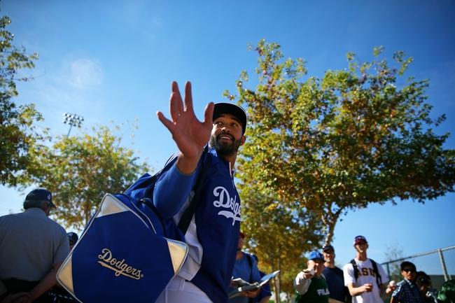 Feb 12, 2014; Glendale, AZ, USA; Los Angeles Dodgers outfielder Matt Kemp during team workouts at Camelback Ranch. Mandatory Credit: Mark J. Rebilas-USA TODAY Sports