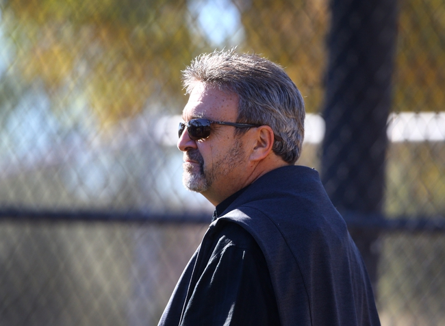 Feb 12, 2014; Glendale, AZ, USA; Los Angeles Dodgers general manager Ned Colletti during team workouts at Camelback Ranch. Mandatory Credit: Mark J. Rebilas-USA TODAY Sports