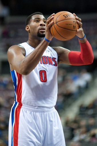 Feb 12, 2014; Auburn Hills, MI, USA; Detroit Pistons center Andre Drummond (0) shoots a free throw during the second quarter against the Cleveland Cavaliers at The Palace of Auburn Hills. Mandatory Credit: Tim Fuller-USA TODAY Sports