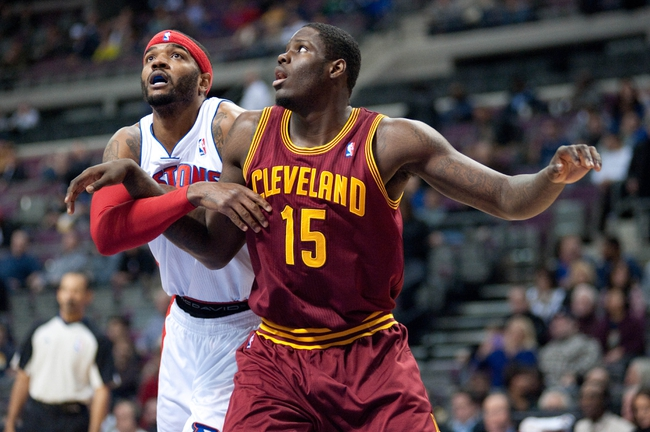 Feb 12, 2014; Auburn Hills, MI, USA; Cleveland Cavaliers small forward Anthony Bennett (15) boxes out Detroit Pistons small forward Josh Smith (6) during the first quarter at The Palace of Auburn Hills. Mandatory Credit: Tim Fuller-USA TODAY Sports