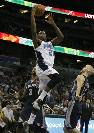 Feb 12, 2014; Orlando, FL, USA; Orlando Magic small forward Maurice Harkless (21) shoots a layup against the Memphis Grizzlies during the second half at Amway Center. Memphis Grizzlies defeated the Orlando Magic 86-81. Mandatory Credit: Kim Klement-USA TODAY Sports