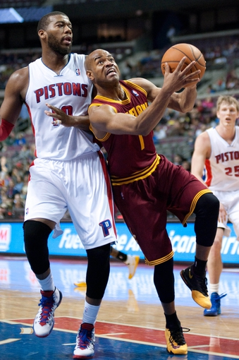 Feb 12, 2014; Auburn Hills, MI, USA; Cleveland Cavaliers point guard Jarrett Jack (1) during the third quarter against the Detroit Pistons at The Palace of Auburn Hills. Cleveland won 93-89. Mandatory Credit: Tim Fuller-USA TODAY Sports