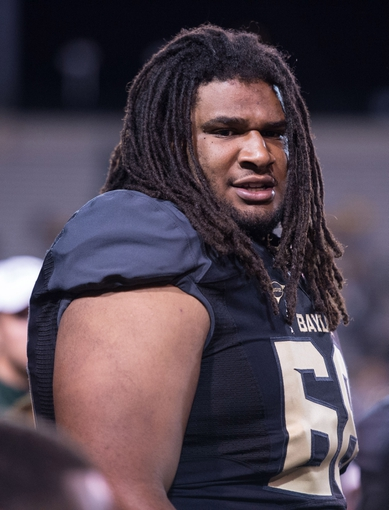 Oct 5, 2013; Waco, TX, USA; Baylor Bears guard Cyril Richardson (68) during the game against the West Virginia Mountaineers at Floyd Casey Stadium. The Bears defeated the Mountaineers 73-42. Mandatory Credit: Jerome Miron-USA TODAY Sports