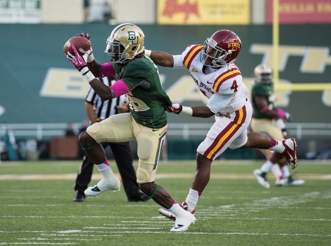 Oct 19, 2013; Waco, TX, USA; Baylor Bears wide receiver Tevin Reese (16) during the game against the Iowa State Cyclones at Floyd Casey Stadium. The Bears defeated the Cyclones 71-7. Mandatory Credit: Jerome Miron-USA TODAY Sports