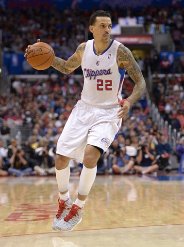 Feb 12, 2014; Los Angeles, CA, USA; Los Angeles Clippers forward Matt Barnes (22) dribbles the ball against the Portland Trail Blazers at Staples Center. The Clippers defeated the Trail Blazers 122-117. Mandatory Credit: Kirby Lee-USA TODAY Sports